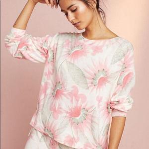 Anthropologie Floreat Floral Fleece Sweatshirt